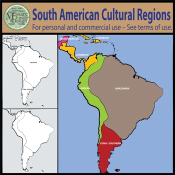 Map Clipart: South American Native Cultural Regions {Messare Clips and Design}