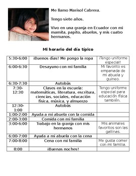 South American School Schedule Cultural Activity in Spanish