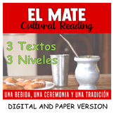 South American Culture: El Mate - Spanish Reading Comprehension - 3 Levels