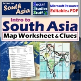 South Asia Map Labeling Worksheet | Absolute & Relative Location Clues