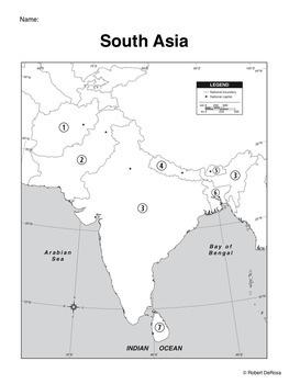 South Asia Mapping Activity By Robert S Resources Tpt