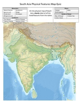 South Asia Physical Features Map Quiz