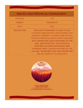 South Asia Physical Geography Map Worksheet