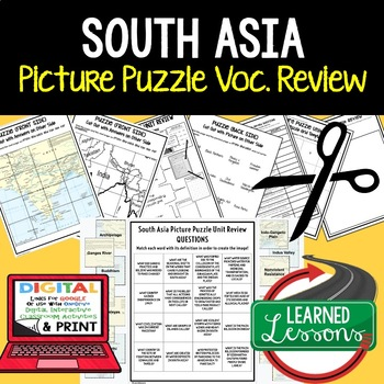 South Asia Picture Puzzle, Test Prep, Unit Review, Study Guide