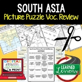 South Asia Picture Puzzle, Test Prep, Unit Review, Study Guide