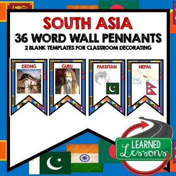 South Asia Word Wall Pennants (World Geography)