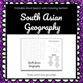 South Asian Geography Printable Word Search Puzzle