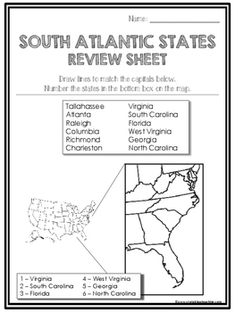 South Atlantic State Region Review Sheets and Quiz