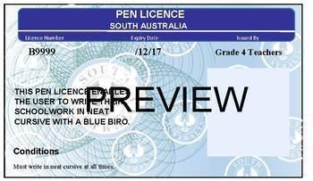 South Australian 'Pen Licence'