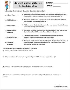 South Carolina - Antebellum Social Classes Assessments & V