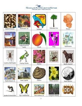 South Carolina Bingo:  State Symbols and Popular Sites