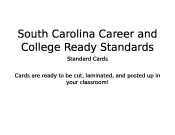 South Carolina Career and College Ready Standards Cards- Kindergarten Math