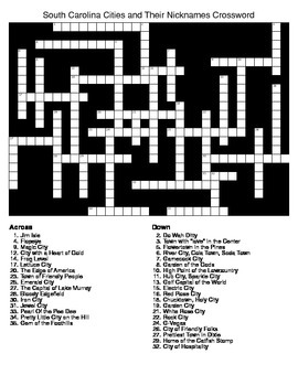 South Carolina Cities and Their Nicknames Crossword & Word Search