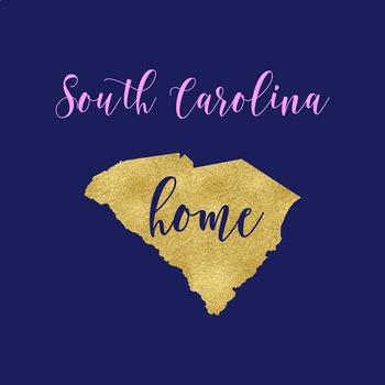 South Carolina Clipart, USA State Clipart, South Carolina Home, Gold US Clipart