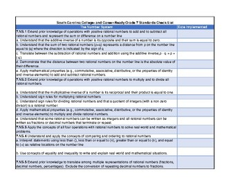 South Carolina College- and Career-Ready Grade 7 Standards Check List