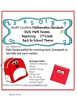 South Carolina College and Career Ready Standards Back to School 2nd Grade Math