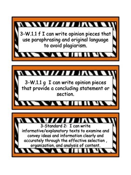 South Carolina College and Career Ready Standards for 3rd grade -Writing