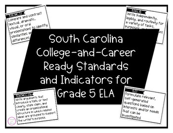 South Carolina College-and-Career Ready Standards for ELA 5th Grade Cards