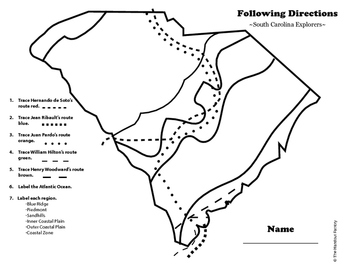South Carolina Explorers: A Following Directions Activity