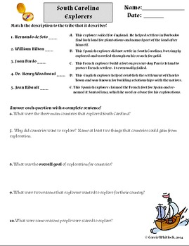 South Carolina - Explorers Assessments and Vocabulary 3-2.2