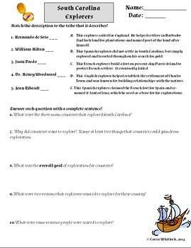 South Carolina - Explorers Assessments and Vocabulary 3-2.2