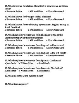 South Carolina Explorer(s) Quiz