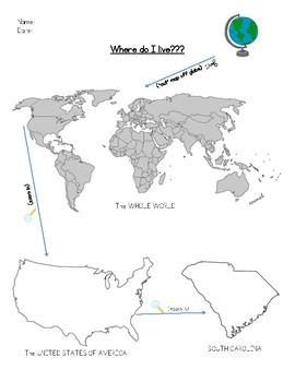 """South Carolina - Geographic """"Where Do I Live?"""" Activity & Lesson"""
