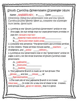 South Carolina Government Scavenger Hunt