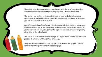 South Carolina Grade 6 ELA I Can Statement Posters