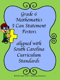 South Carolina Grade 6 Math I Can Statement Posters Green and Blue