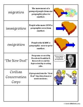 South Carolina - Great Migration & Great Depression Assessments & Vocab 3-5.2&3