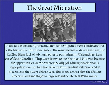 South Carolina - Great Migration & Great Depression Presentation 3-5.2 & 3