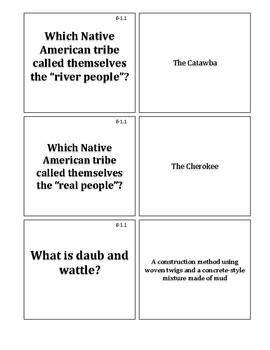 South Carolina History - 8-1.1 Study Cards