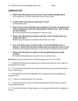 South Carolina History - 8-1.3 Quiz