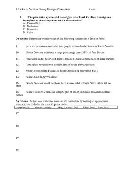 South Carolina History - 8-1.4 Quiz