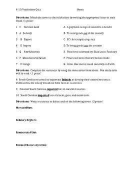 South Carolina History - 8-1.5 Vocabulary Quiz