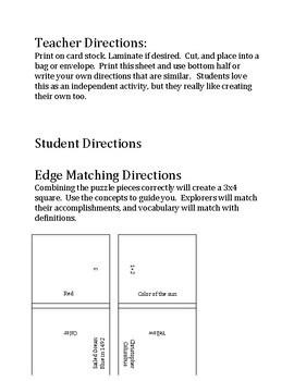 South Carolina History - 8-3.4 - Edge Matching Squares Puzzle