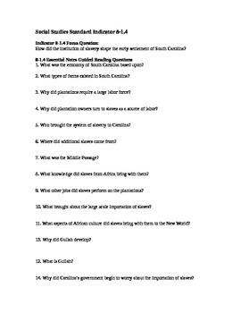 South Carolina History - Partner Read - 8-1.4 - Questions
