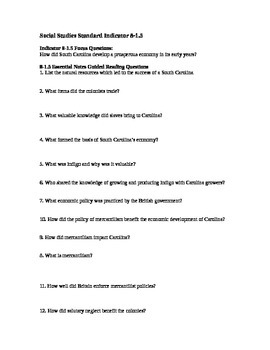 South Carolina History - Partner Read - 8-1.5 - Questions