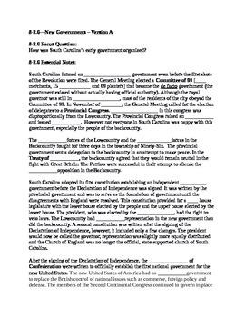 South Carolina History - Partner Read - 8-2.6
