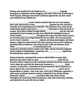 South Carolina History - Partner Read - 8-6.1