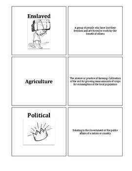 South Carolina History - Vocabulary Cards 8-1.1, 8-1.2