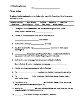 South Carolina History - Vocabulary Worksheet - 8-1.4
