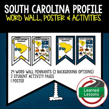 South Carolina History Word Wall, State Profile, Activity Pages
