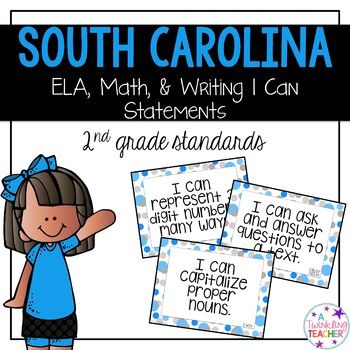 South Carolina I can statements for 2nd grade blue and gray polka dot version!