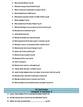 South Carolina Journey Guided Reading Chapter Four