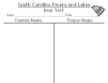 South Carolina Rivers and Lakes Noun Sort