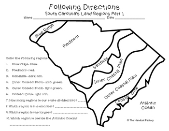 South Carolina's Land Regions  Following Directions Activities | TpT
