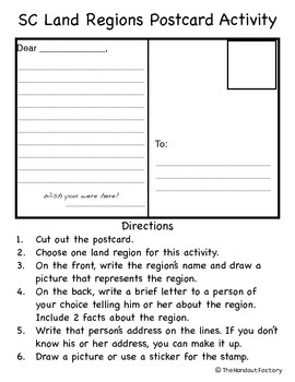 South Carolina Regions Postcard Activity