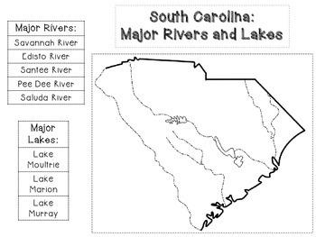 South Carolina: Major Rivers and Lakes cut and paste activity